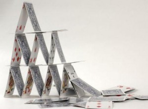 Genetic Genealogy and careful census and other record documentation can help make sure your family tree isn't like this house of cards.