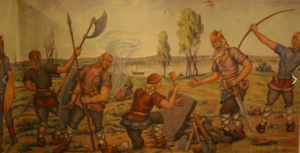 Mural at Kensington Runestone Museum.