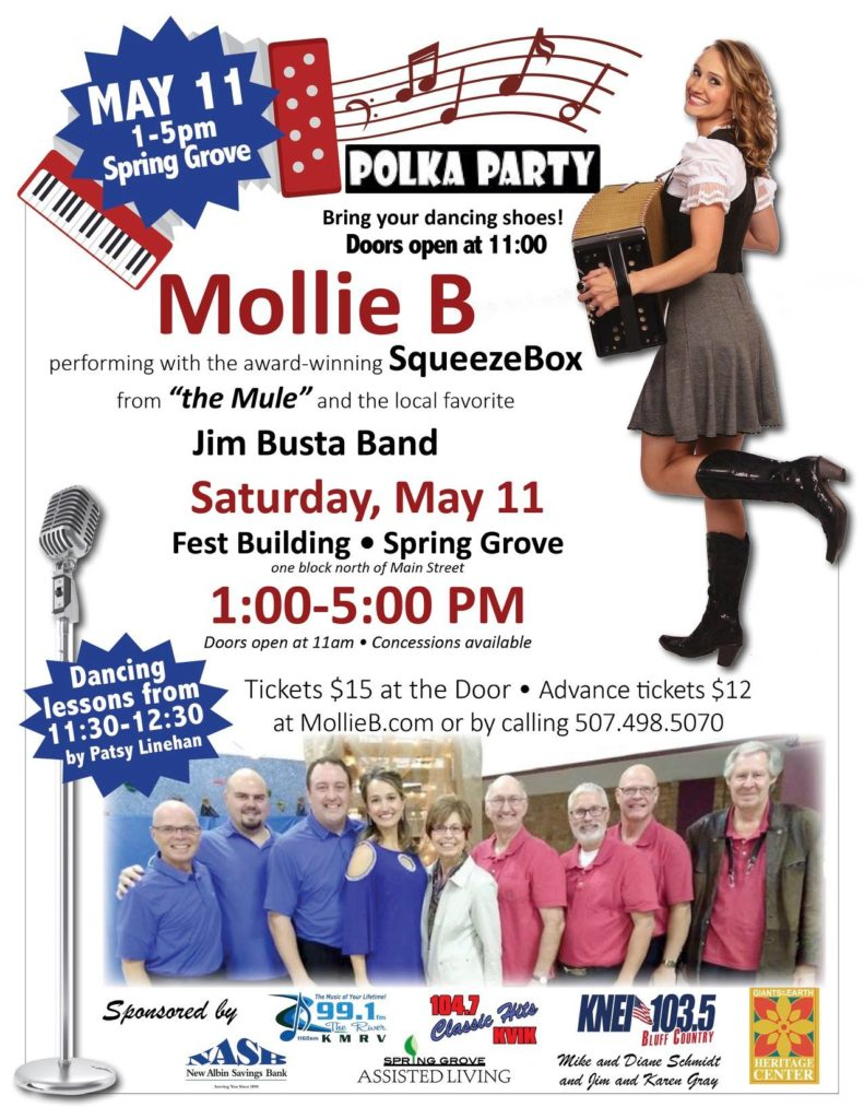 Mollie B Squeezebox and Jim Busta Band performs in Spring Grove May 11 Fest Building